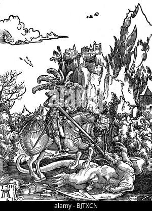 George, Saint + circa 303, martire, Santo Helper, a piena lunghezza e a cavallo che uccide il drago, xilografia, Foto Stock