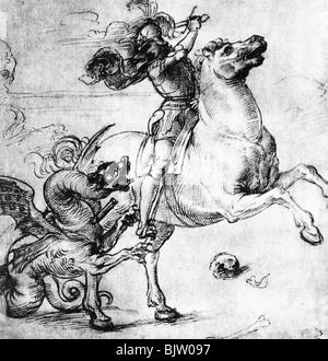 San Giorgio, + circa 303, martire e santo aiutante nel bisogno, a tutta lunghezza, lotta con il drago, disegno di Raffaello Santi (1483 - 1520), Galleria degli Uffizi, Firenze,