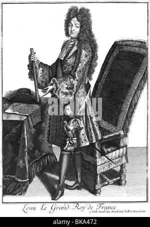 Luigi XIV, 5.9.1638 - 1.9.1715, Re di Francia 1643 - 1715, a piena lunghezza e incisione su rame di Gerard Valck (circa 1652 - 1726), artista del diritto d'autore non deve essere cancellata Foto Stock