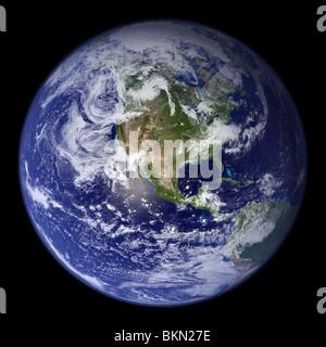 La Terra vista dallo spazio, con l'america del nord visibile. Foto Stock