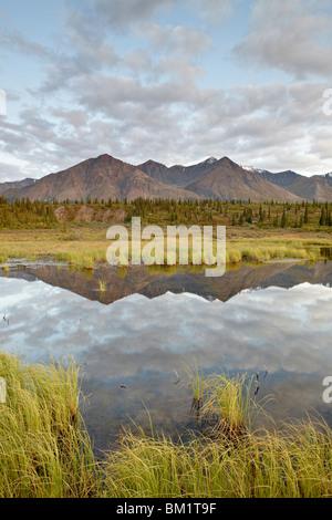 Le montagne si riflette in un stagno lungo la Denali Highway, Alaska, Stati Uniti d'America, America del Nord Foto Stock