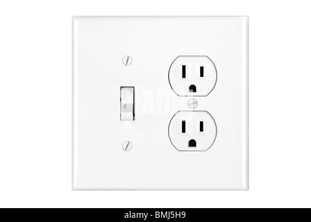 Un multi power combinazione interruttore della luce e presa di corrente isolati su bianco. Foto Stock