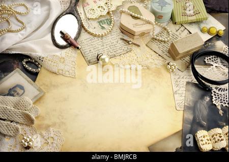 Composizione con vintage ladies accessori moda Foto Stock