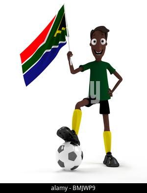 Sorridente in stile cartoon il Calciatore con la palla e la bandiera del Sud Africa