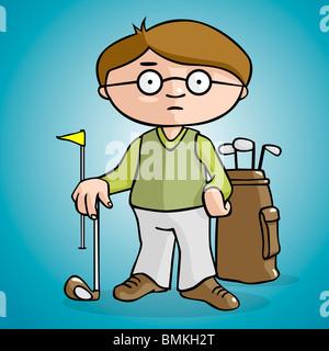 Un giocatore di golf disegnare in stile cartoon