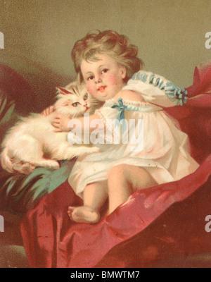 Bimbo e il suo gatto di casa Foto Stock