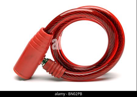 Red bike sicurezza lucchetto a catena Foto Stock