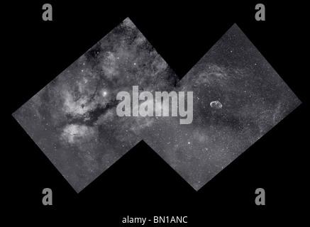 Wf immagine del mosaico di nebulousity nella costellazione del Cigno