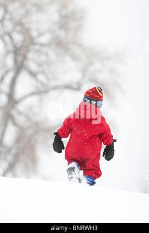 Un bimbo di 2 anni gioca in un campo nevoso durante una tempesta di neve in un rosso doposci in un parco, Fort Collins, Foto Stock