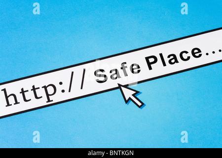 Concetto di sicurezza online posto, questioni sociali Foto Stock