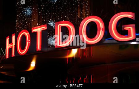 HOT DOG insegna al neon Foto Stock
