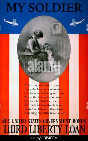 Il mio soldier acquistare negli Stati Uniti di obbligazioni del governo--terzo prestito Liberty - WWI USA Bond Poster Foto Stock