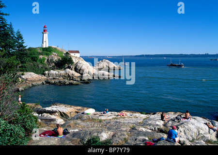 Lighthouse Park, West Vancouver, BC, British Columbia, Canada - punto luce Atkinson Station National Historic Site, Foto Stock