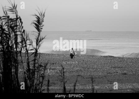 Surfista maschio passeggiate fuori a fare surf, Ventura California USA. Foto Stock