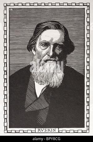 John Ruskin (1819 - 1900). Estremamente influente critico d'arte, architetto, poeta, autore e saggista. Autore di Foto Stock