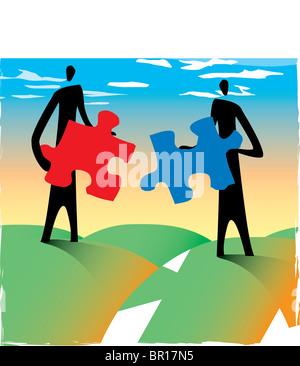Due uomini che tengono i pezzi del puzzle che possono essere montati insieme Foto Stock