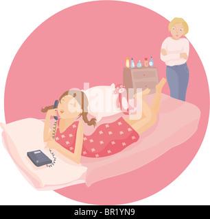 Una ragazza adolescente parlando al telefono nella sua camera da letto mentre sua madre si affaccia su