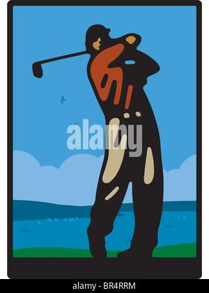 Un uomo di giocare a golf in un corso in riva al mare