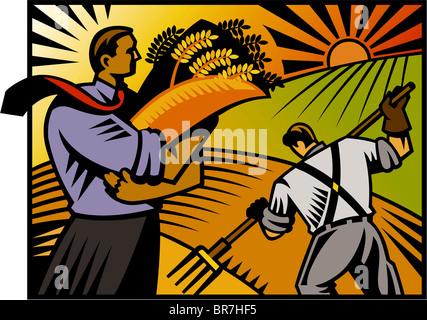 Un imprenditore sta tenendo il suo raccolto di frumento, mentre un agricoltore lavora in background Foto Stock