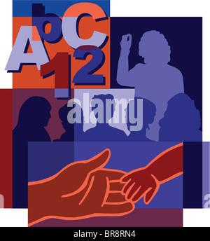 Collage di numeri e lettere, un insegnante alla lavagna di fronte a studenti, la mano di un adulto in possesso di Foto Stock