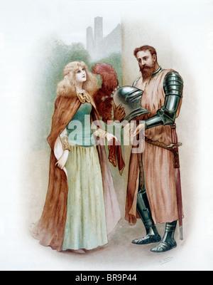 Illustrazione a colori del cavaliere medievale LANCELOT E LADY ELAINE Foto Stock
