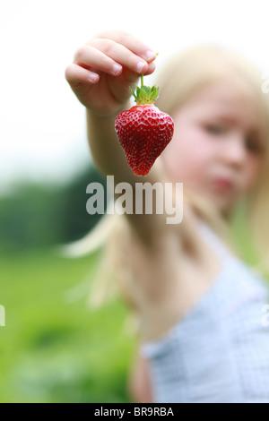 Bambina in un campo di fragole Foto Stock