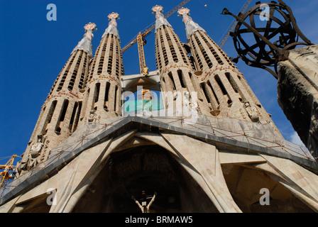 Spagna Barcellona , cattedrale Sagrada Familia dall architetto Antoni Gaudi , Patrimonio mondiale UNESCO Foto Stock