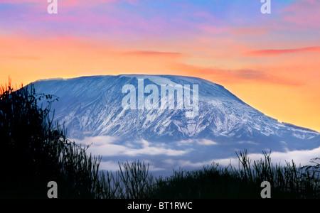 Kilimanjaro presso sunrise, Amboseli National Park, Kenya, Africa Foto Stock