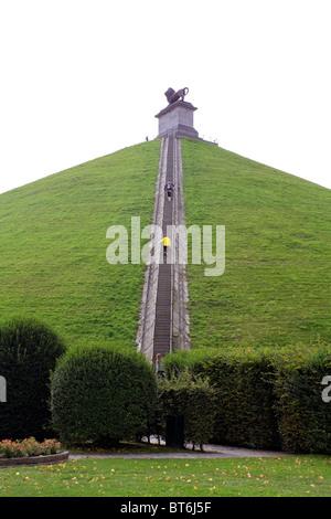 La parte del leone la gobba o Butte du Lion è un grande conica collina artificiale sul campo di battaglia di Waterloo, Foto Stock
