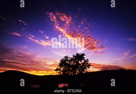 Tramonto sul lago di Ullswater. Il Lake District. Cumbria. In Inghilterra. Golden nuvole e bellissimo profondo cielo Foto Stock
