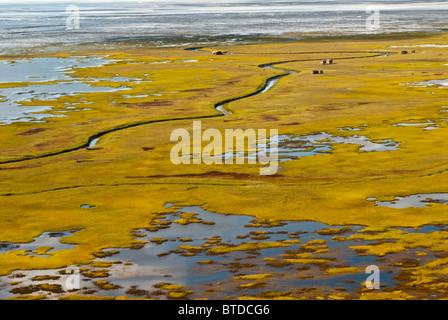Vista aerea di piccole cabine e altre strutture stagionali lungo le piane di marea attraverso Cook Inlet da Anchorage Foto Stock