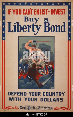 La guerra mondiale I poster che mostra la figura America con protezione prestito Liberty lottano contro la devastazione, Foto Stock