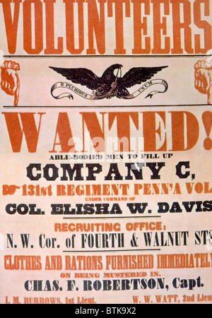 Union Army recruiting poster, ca. 1861 Foto Stock