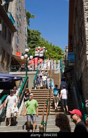 Turisti dell'Escalier Casse-Cou (repentine scale) nella parte inferiore della città area della Vecchia Quebec Quebec Foto Stock