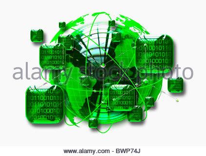 Green Globe circondata da piazze contenente codice binario Foto Stock