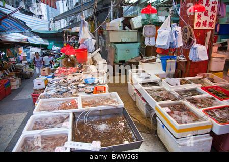 Gage strada del mercato di Hong Kong city, prodotti freschi sono carne, pesce, pollame. puzzolente e scary tutte Foto Stock