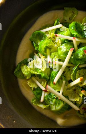 Saltati i cavoletti di Bruxelles foglie con salsa Apple-Mustrad. Foto Stock