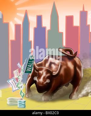 Cartoon illustrazione del Wall Street Bull che corre lungo una strada di  colore giallo con il 2715327a1736