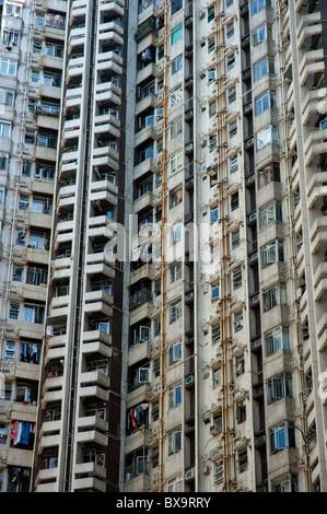 Alto edificio di appartamenti in Aberdeen, Isola di Hong Kong, Hong Kong, Cina. Foto Stock