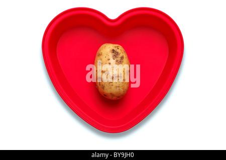 Foto concettuale di una patata in un cuore piatto sagomato per rappresentare un amore del vegetale, isolato su sfondo Foto Stock