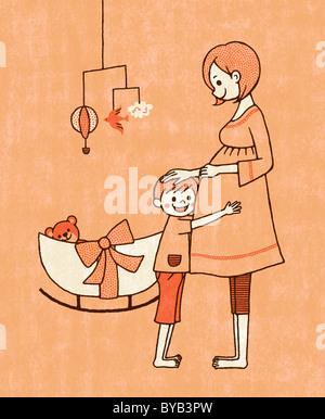 Un giovane bambino e donna incinta in un vivaio Foto Stock