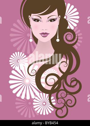 Un close-up illustrazione di una donna