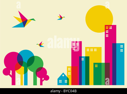 Il tempo primaverile in città. Full Color colibrì volando sopra la foresta e la città. File vettoriale disponibile.