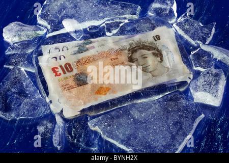 Note di Sterling congelati Foto Stock