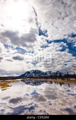 Vista delle montagne di Clearwater e nuvole riflettono in un stagno di strada lungo la Denali Highway, Alaska Foto Stock