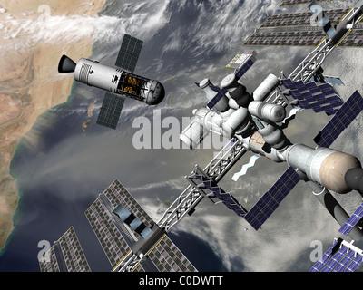 Artista del concetto di una trans-spazio lunare tug uscire alla stazione spaziale internazionale. Foto Stock