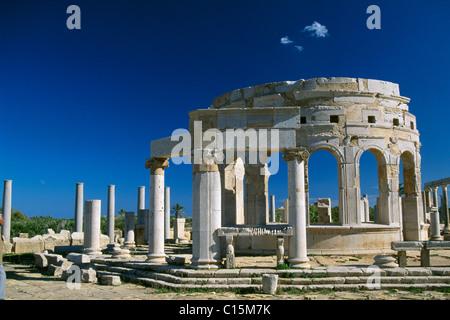 Le rovine romane di Leptis Magna, Libia, Africa Foto Stock