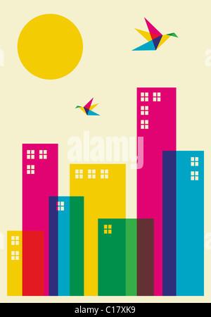 Il tempo primaverile in città. Full Color colibrì volando sopra la città. File vettoriale disponibile.
