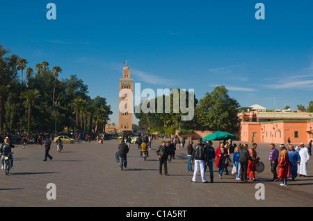 Djemaa el Fna Medina città vecchia centrale di Marrakech Marocco Africa Foto Stock