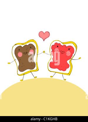 Illustrazione delle fette di pane in amore Foto Stock